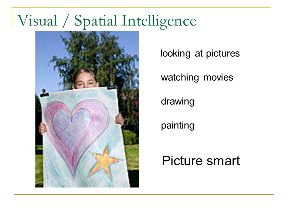 Visual / Spatial Intelligence looking at pictures watching movies drawing painting Picture smart