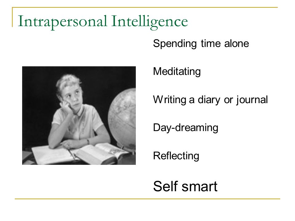 Intrapersonal Intelligence Spending time alone Meditating Writing a diary or journal Day-dreaming Reflecting Self smart