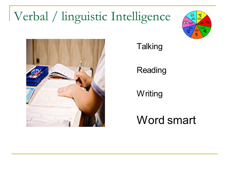 Verbal / linguistic Intelligence Talking Reading Writing Word smart