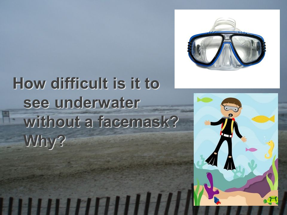 How difficult is it to see underwater without a facemask? Why?