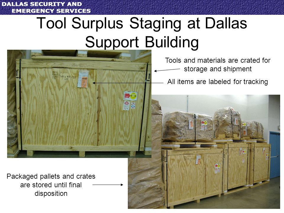 Tool Surplus Staging at Dallas Support Building Tools and materials are crated for storage and shipment All items are labeled for tracking Packaged pa