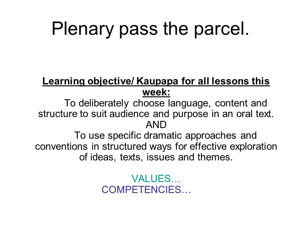 Plenary pass the parcel.