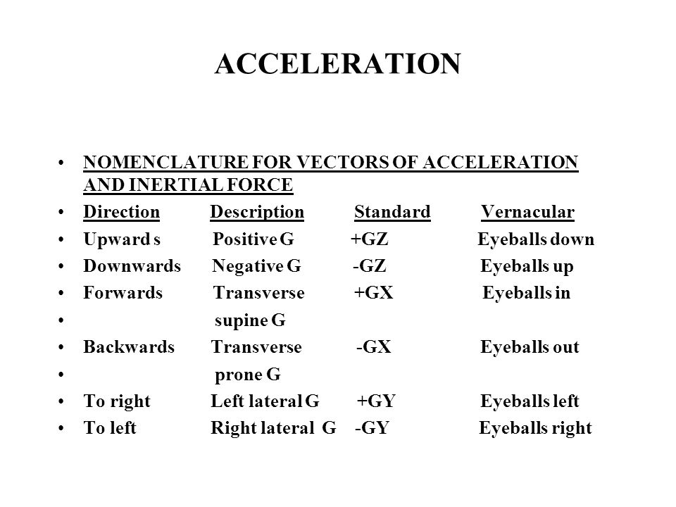 ACCELERATION NOMENCLATURE FOR VECTORS OF ACCELERATION AND INERTIAL FORCE Direction Description Standard Vernacular Upward s Positive G +GZ Eyeballs down Downwards Negative G -GZ Eyeballs up Forwards Transverse +GX Eyeballs in supine G Backwards Transverse -GX Eyeballs out prone G To right Left lateral G +GY Eyeballs left To left Right lateral G -GY Eyeballs right