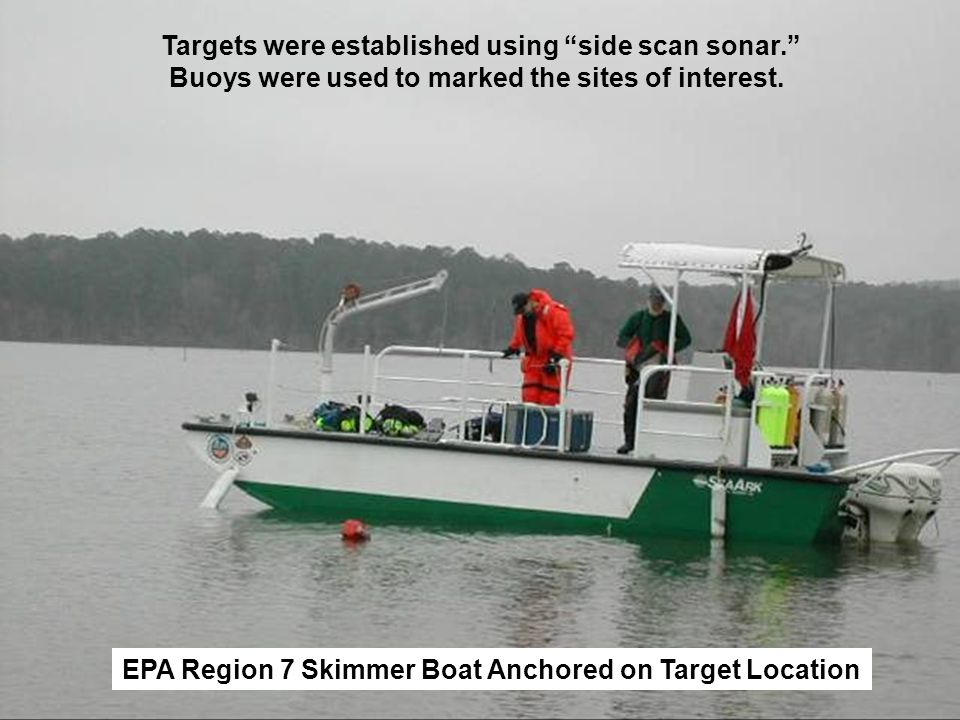 Targets were established using side scan sonar. Buoys were used to marked the sites of interest. EPA Region 7 Skimmer Boat Anchored on Target Location