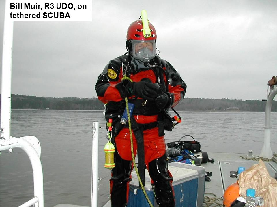 Bill Muir, R3 UDO, on tethered SCUBA