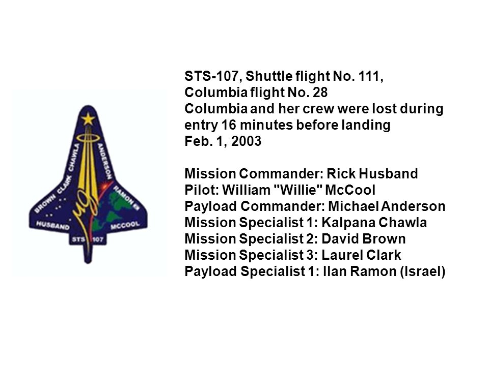 STS-107, Shuttle flight No. 111, Columbia flight No. 28 Columbia and her crew were lost during entry 16 minutes before landing Feb. 1, 2003 Mission Co
