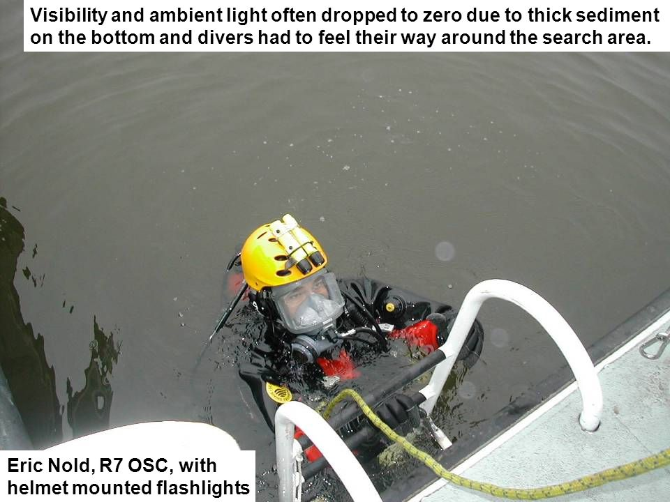 Visibility and ambient light often dropped to zero due to thick sediment on the bottom and divers had to feel their way around the search area.