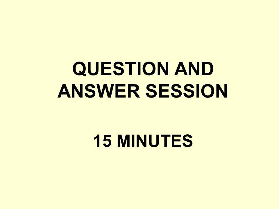 QUESTION AND ANSWER SESSION 15 MINUTES