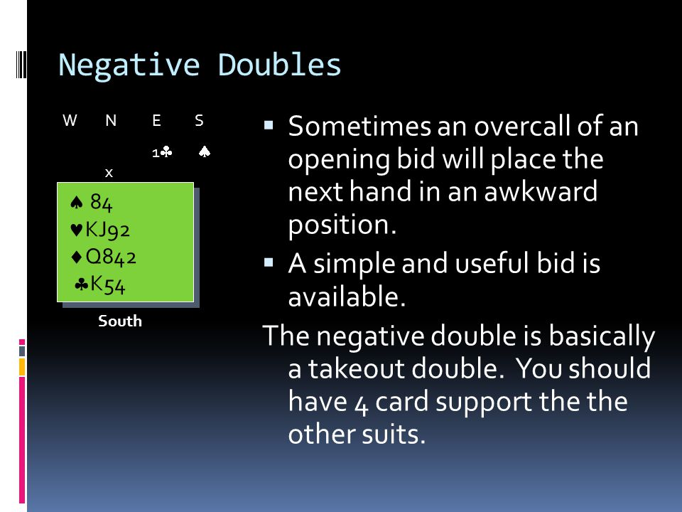 Negative Doubles Sometimes an overcall of an opening bid will place the next hand in an awkward position.