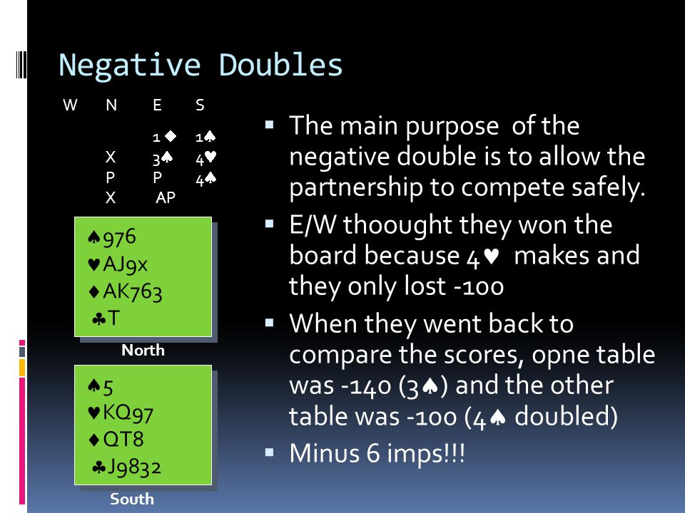 Negative Doubles The main purpose of the negative double is to allow the partnership to compete safely.