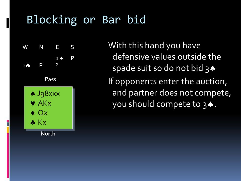 Blocking or Bar bid If you pass 2, this invites opponents to compete.