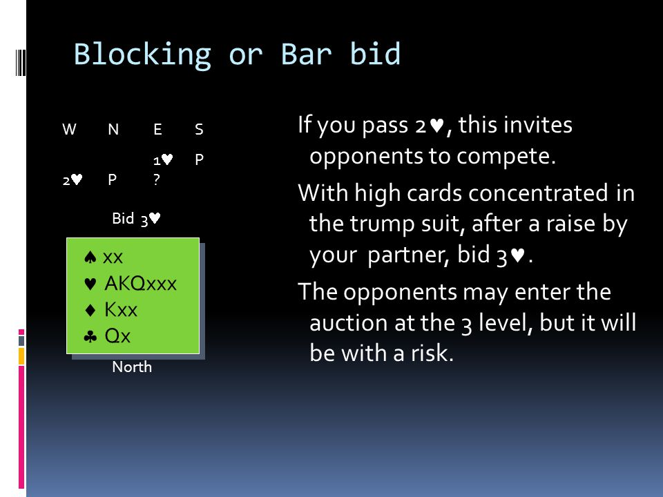 Blocking or Bar bid You have an excellent defensive hand, and you would be taking an unnecessary risk to bid 3.