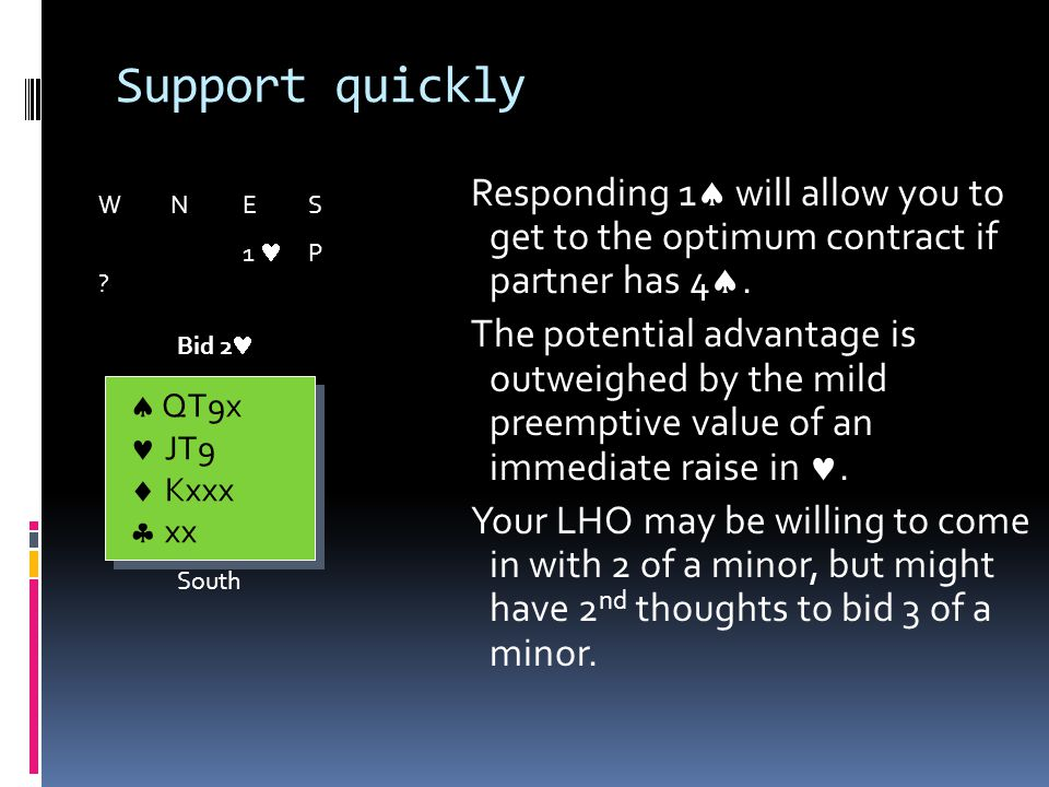Support quickly Responding 1 will all0w you to get to the optimum contract if partner has 4.