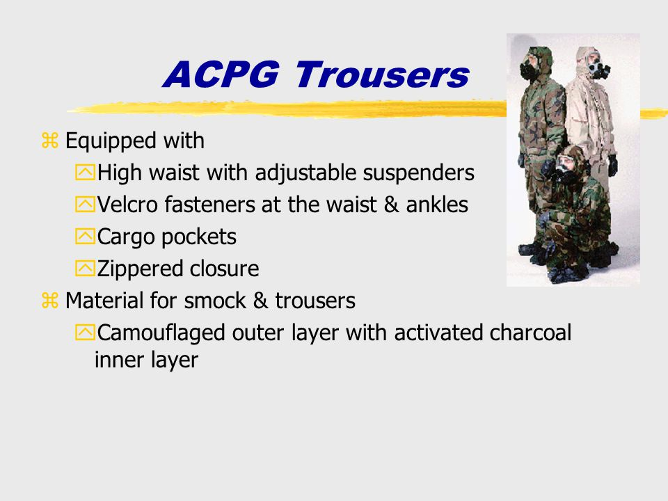 zEquipped with yHigh waist with adjustable suspenders yVelcro fasteners at the waist & ankles yCargo pockets yZippered closure zMaterial for smock & t
