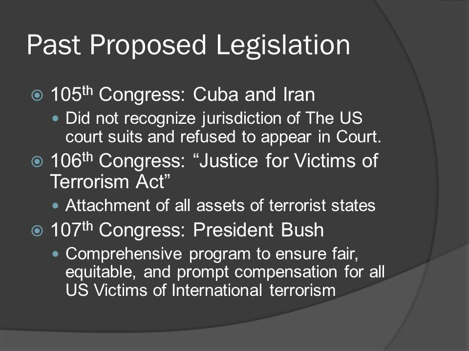 Past Proposed Legislation 105 th Congress: Cuba and Iran Did not recognize jurisdiction of The US court suits and refused to appear in Court. 106 th C