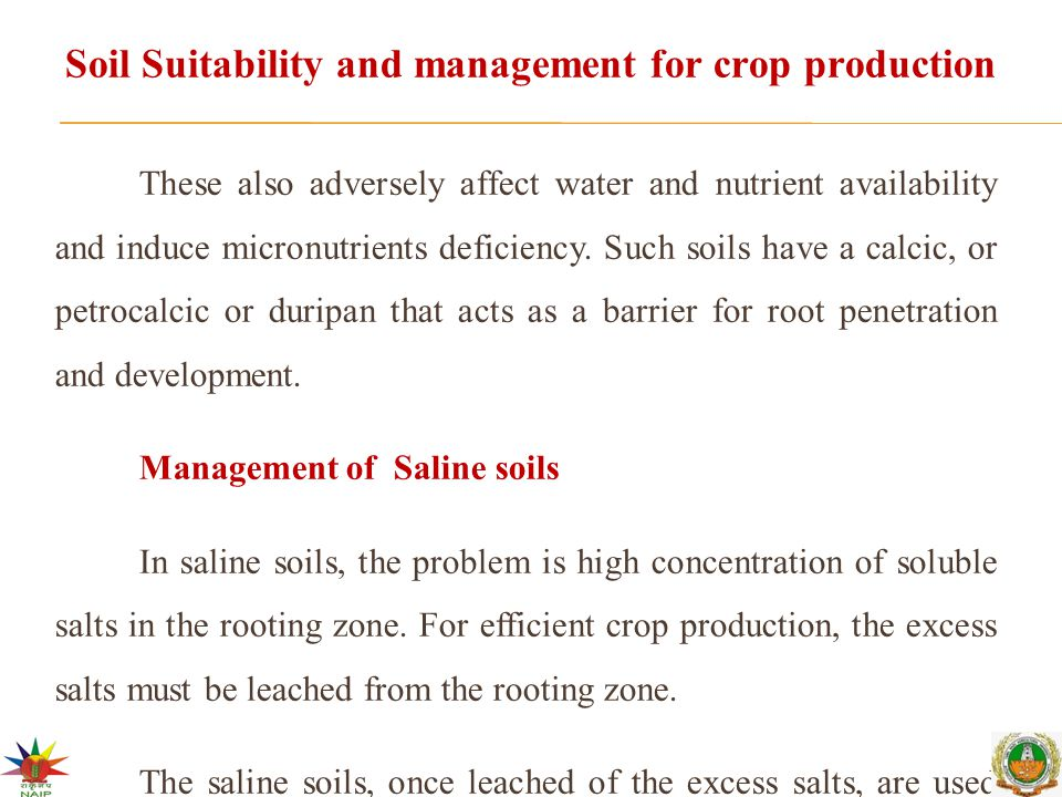 Soil Suitability and management for crop production These also adversely affect water and nutrient availability and induce micronutrients deficiency.