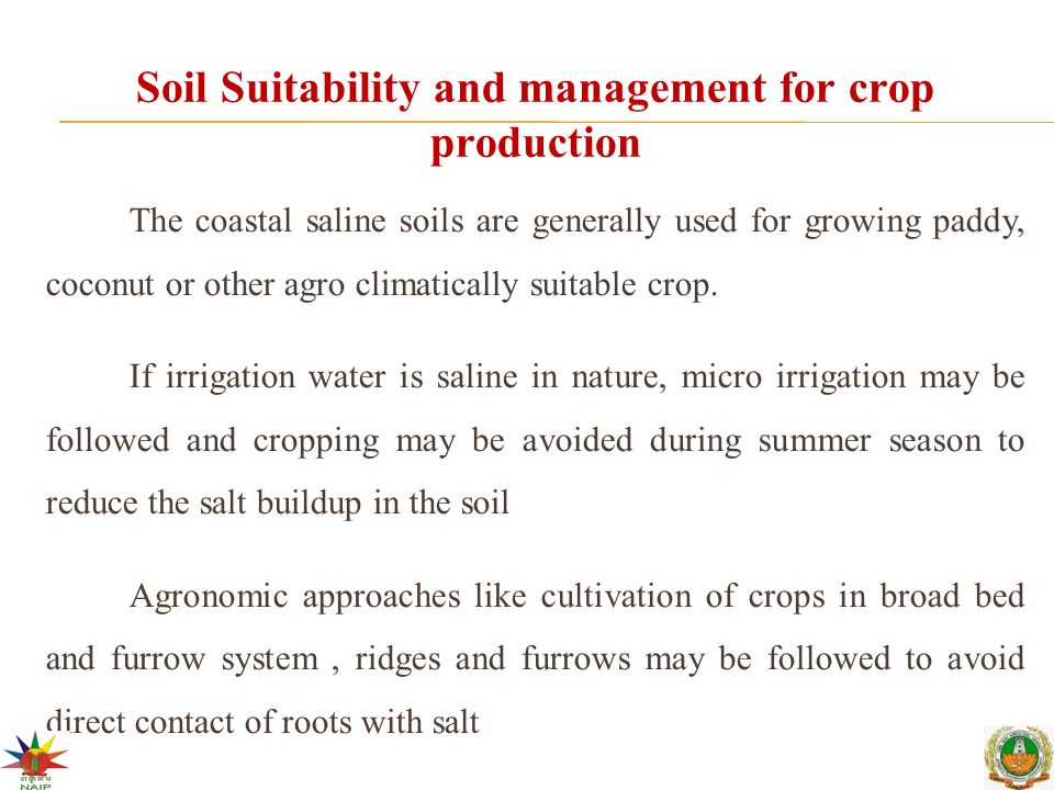 Soil Suitability and management for crop production The coastal saline soils are generally used for growing paddy, coconut or other agro climatically suitable crop.