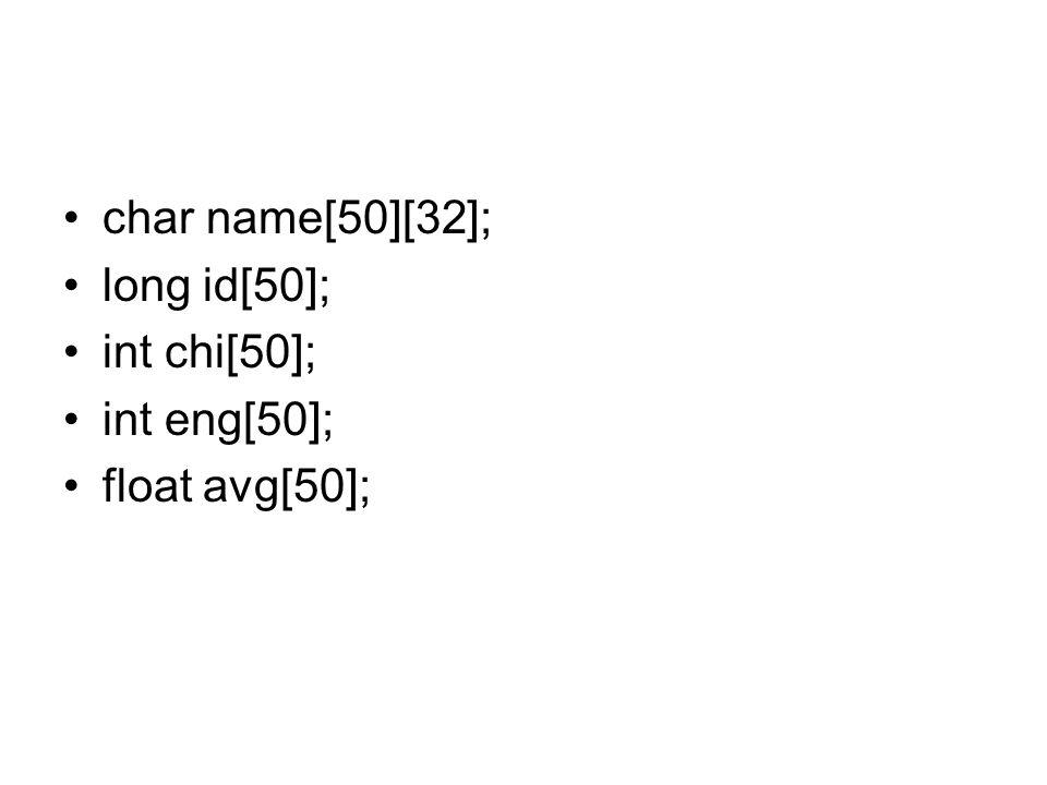struct Stu_Type { char name[32]; long id; int chi; int eng; float avg; }; int i; struct Stu_Type x;
