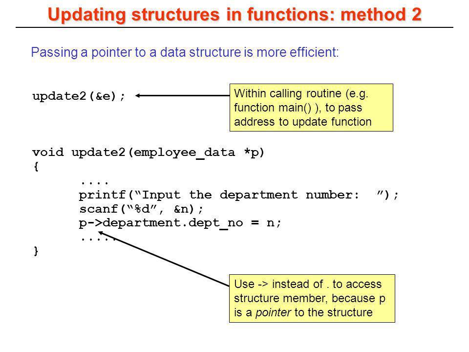 update2(&e); void update2(employee_data *p) {.... printf(Input the department number: ); scanf(%d, &n); p->department.dept_no = n;..... } Updating str