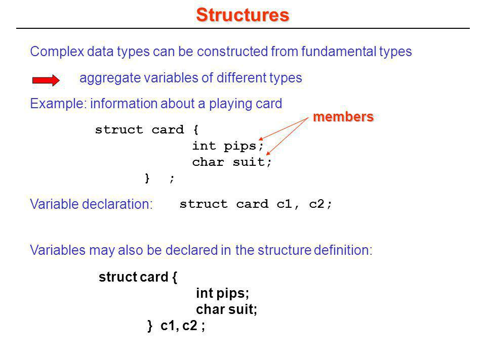 Structure types card c3, c4, c5; Variable declaration: The variable type is struct card not just card.