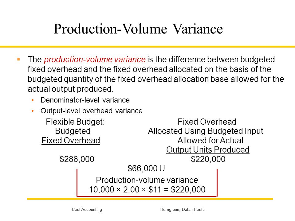 Cost Accounting Horngreen, Datar, Foster Production-Volume Variance The production-volume variance is the difference between budgeted fixed overhead a