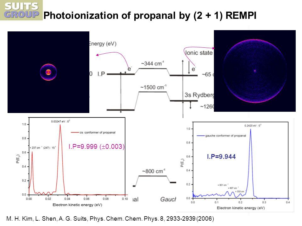 Photoionization of propanal by (2 + 1) REMPI I.P=9.999 ( 0.003) I.P=9.944 M.