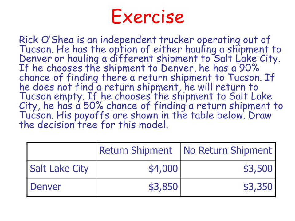 Exercise Rick OShea is an independent trucker operating out of Tucson. He has the option of either hauling a shipment to Denver or hauling a different