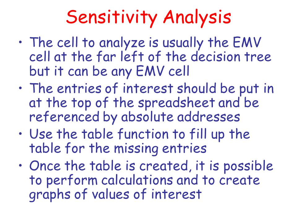 Sensitivity Analysis The cell to analyze is usually the EMV cell at the far left of the decision tree but it can be any EMV cell The entries of intere