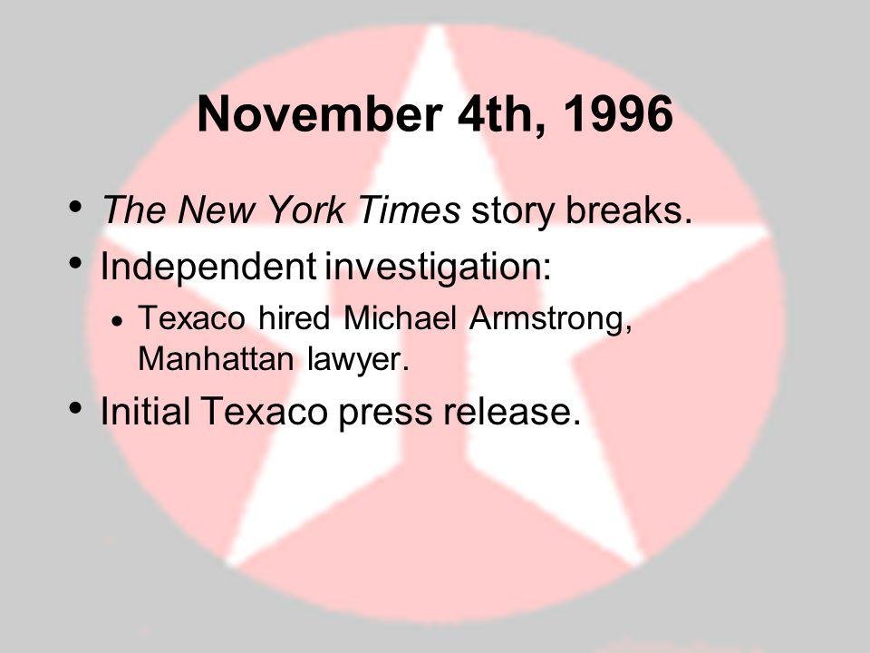 November 4th, 1996 The New York Times story breaks.