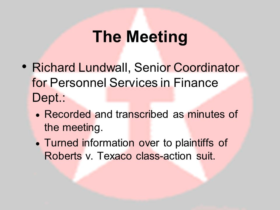 The Meeting Richard Lundwall, Senior Coordinator for Personnel Services in Finance Dept.: Recorded and transcribed as minutes of the meeting. Turned i