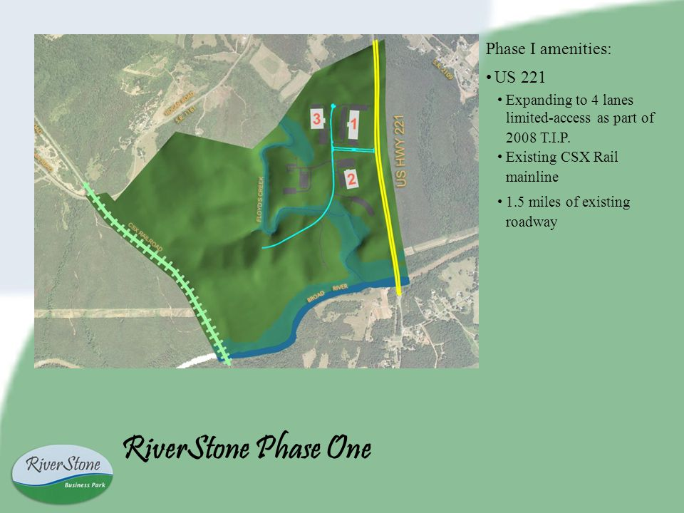 RiverStone Phase One Phase I amenities: US 221 Expanding to 4 lanes limited-access as part of 2008 T.I.P.