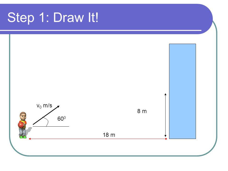 Step 1: Draw It! 8 m v 0 m/s 60 0 18 m