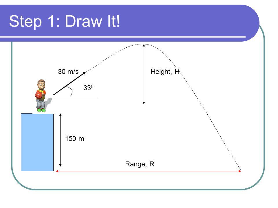 Step 1: Draw It! 150 m 30 m/s 33 0 Range, R Height, H
