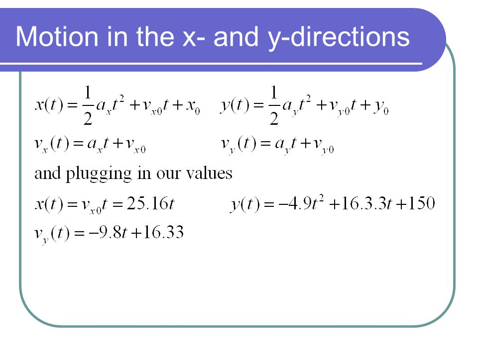 Motion in the x- and y-directions