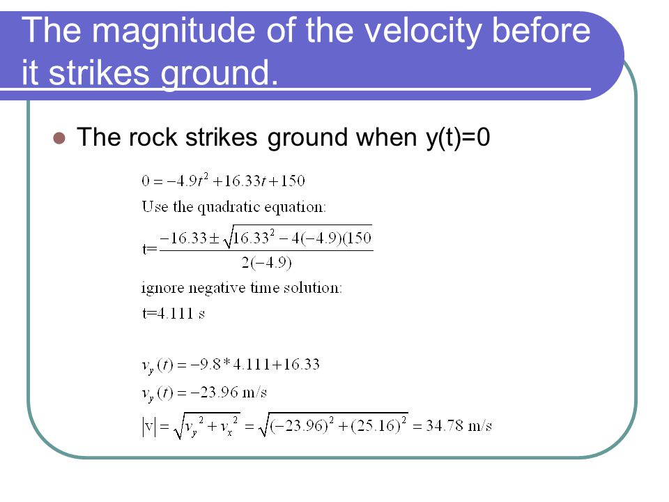 The magnitude of the velocity before it strikes ground. The rock strikes ground when y(t)=0
