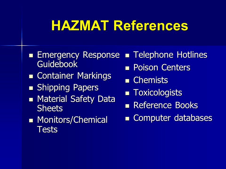 HAZMAT References Emergency Response Guidebook Emergency Response Guidebook Container Markings Container Markings Shipping Papers Shipping Papers Mate