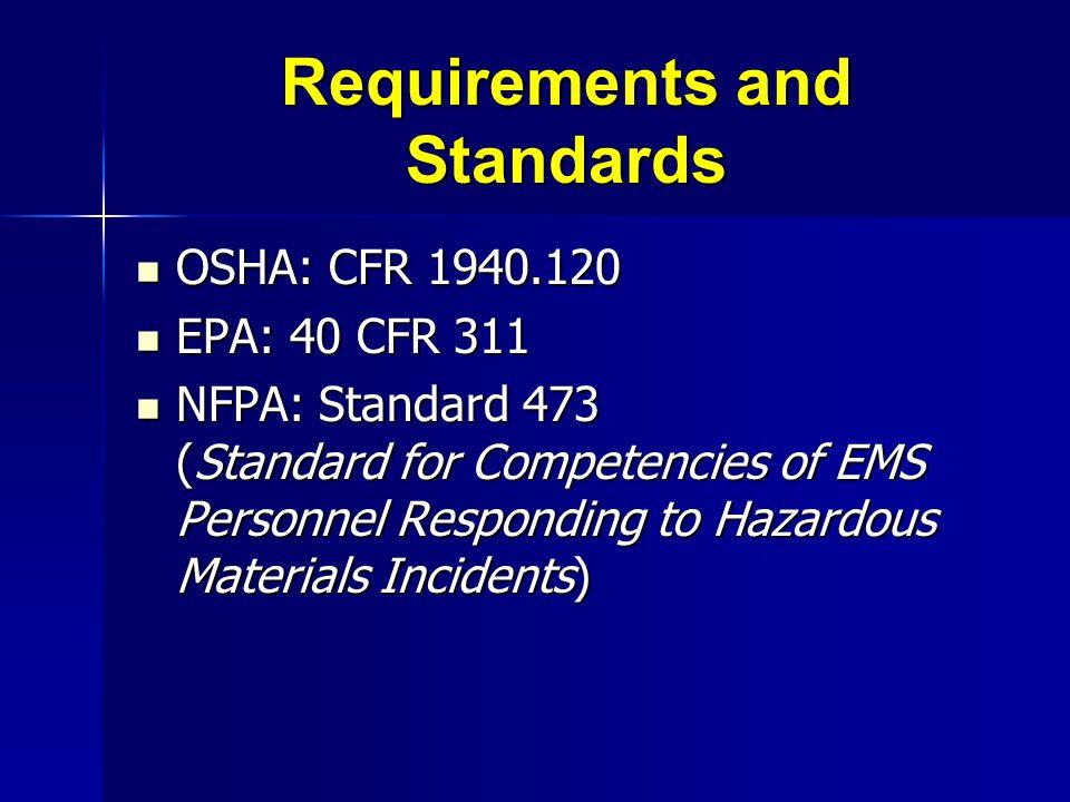 Requirements and Standards OSHA: CFR 1940.120 OSHA: CFR 1940.120 EPA: 40 CFR 311 EPA: 40 CFR 311 NFPA: Standard 473 (Standard for Competencies of EMS