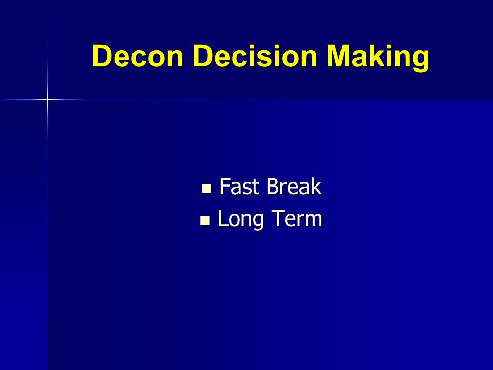 Decon Decision Making Fast Break Fast Break Long Term Long Term