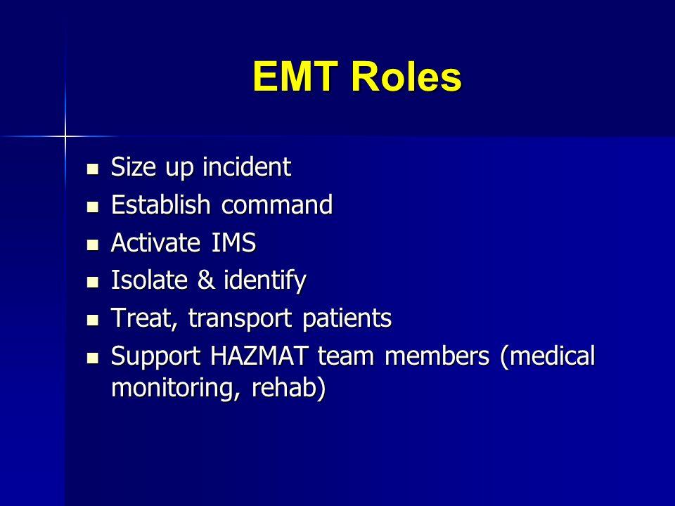 EMT Roles Size up incident Size up incident Establish command Establish command Activate IMS Activate IMS Isolate & identify Isolate & identify Treat,