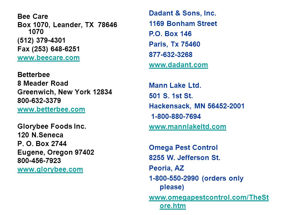 Dadant & Sons, Inc. 1169 Bonham Street P.O.