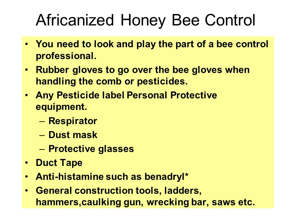 You need to look and play the part of a bee control professional.