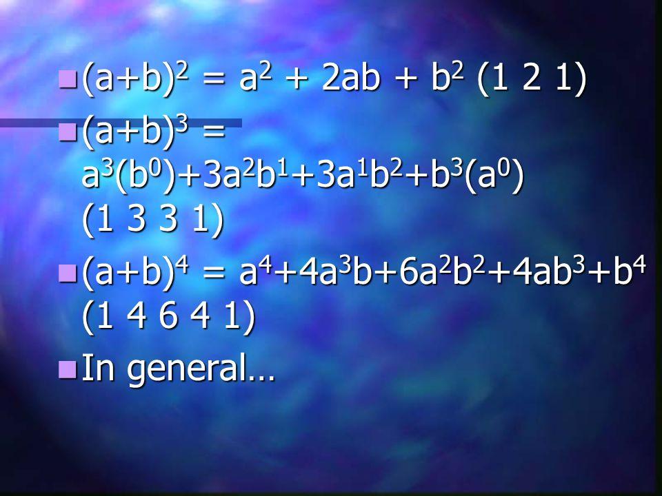 (a+b) 2 = a 2 + 2ab + b 2 (1 2 1) (a+b) 2 = a 2 + 2ab + b 2 (1 2 1) (a+b) 3 = a 3 (b 0 )+3a 2 b 1 +3a 1 b 2 +b 3 (a 0 ) (1 3 3 1) (a+b) 3 = a 3 (b 0 )+3a 2 b 1 +3a 1 b 2 +b 3 (a 0 ) (1 3 3 1) (a+b) 4 = a 4 +4a 3 b+6a 2 b 2 +4ab 3 +b 4 (1 4 6 4 1) (a+b) 4 = a 4 +4a 3 b+6a 2 b 2 +4ab 3 +b 4 (1 4 6 4 1) In general… In general…