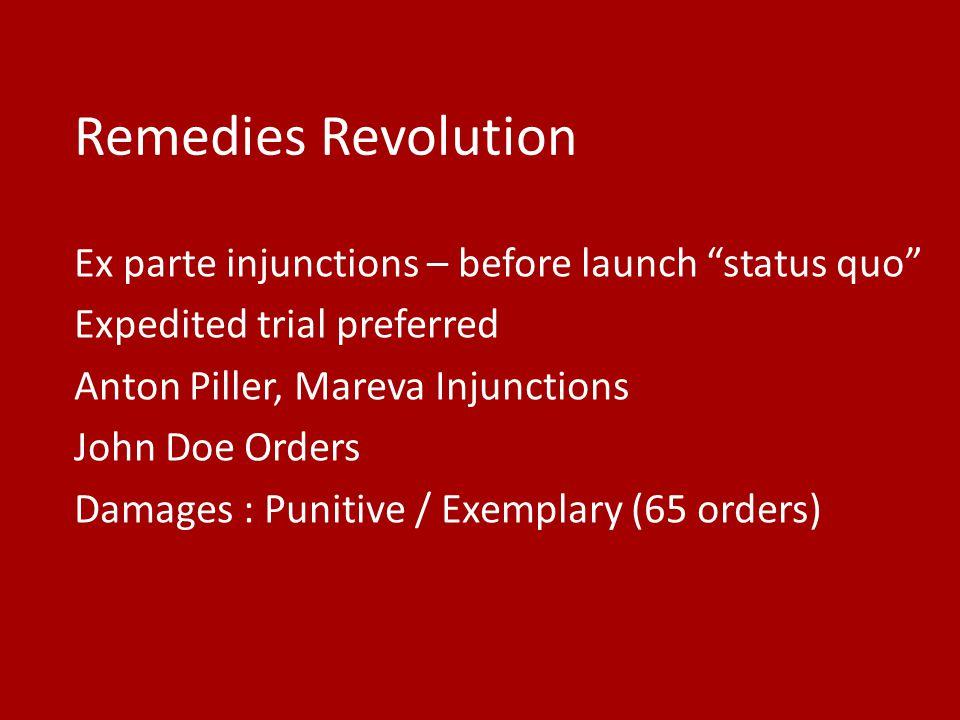 Remedies Revolution Ex parte injunctions – before launch status quo Expedited trial preferred Anton Piller, Mareva Injunctions John Doe Orders Damages