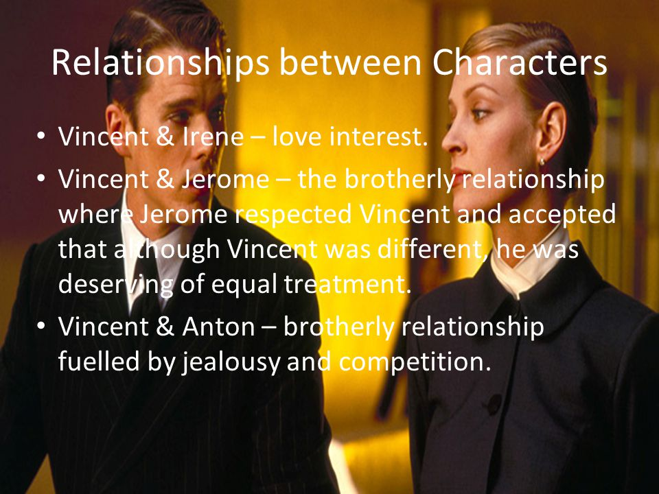 Relationships between Characters Vincent & Irene – love interest.