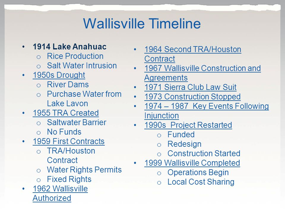 1914 Lake Anahuac o Rice Production o Salt Water Intrusion 1950s Drought o River Dams o Purchase Water from Lake Lavon 1955 TRA Created o Saltwater Barrier o No Funds 1959 First Contracts o TRA/Houston Contract o Water Rights Permits o Fixed Rights 1962 Wallisville Authorized1962 1964 Second TRA/Houston Contract1964 Second TRA/Houston Contract 1967 Wallisville Construction and Agreements1967 Wallisville Construction and Agreements 1971 Sierra Club Law Suit 1973 Construction Stopped 1974 – 1987 Key Events Following Injunction1974 – 1987 Key Events Following Injunction 1990s Project Restarted o Funded o Redesign o Construction Started 1999 Wallisville Completed o Operations Begin o Local Cost Sharing Wallisville Timeline