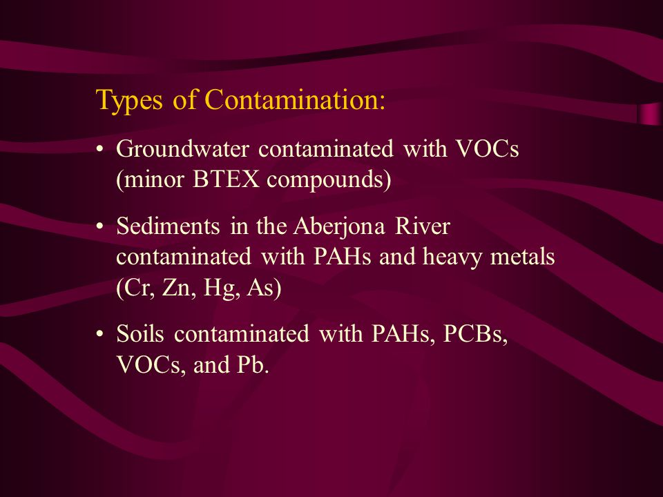 Types of Contamination: Groundwater contaminated with VOCs (minor BTEX compounds) Sediments in the Aberjona River contaminated with PAHs and heavy metals (Cr, Zn, Hg, As) Soils contaminated with PAHs, PCBs, VOCs, and Pb.