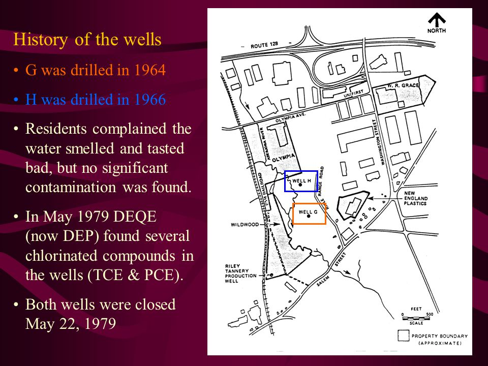 History of the wells G was drilled in 1964 H was drilled in 1966 Residents complained the water smelled and tasted bad, but no significant contamination was found.