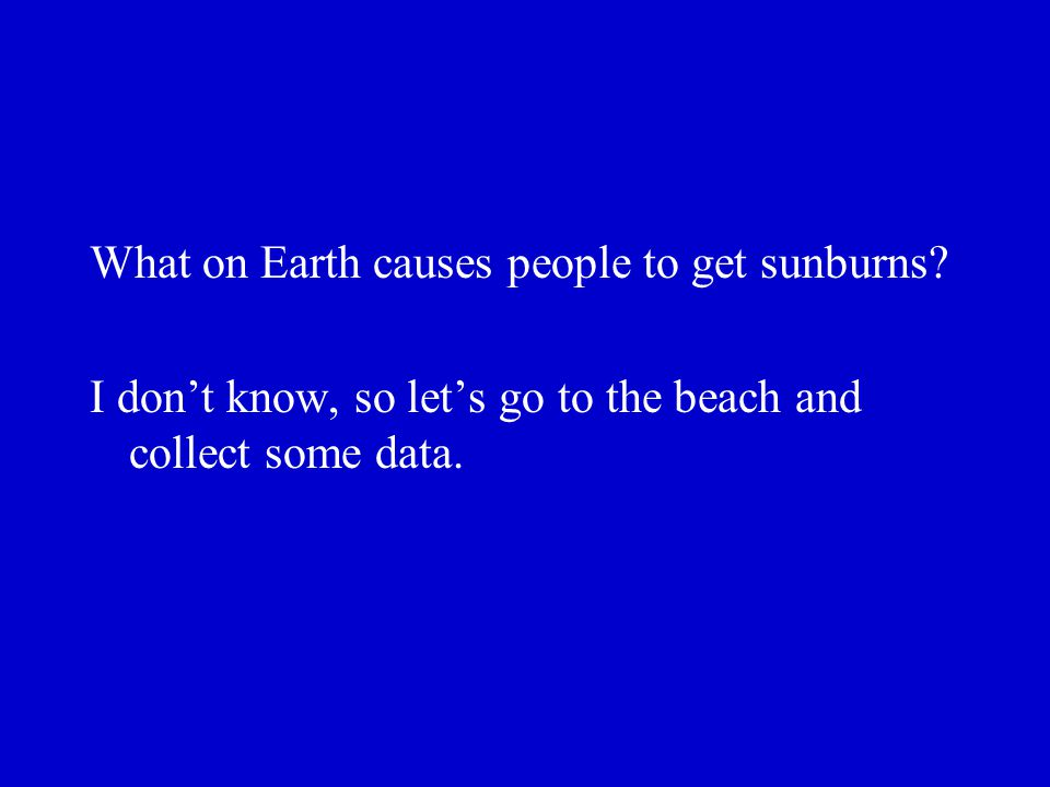 What on Earth causes people to get sunburns? I dont know, so lets go to the beach and collect some data.