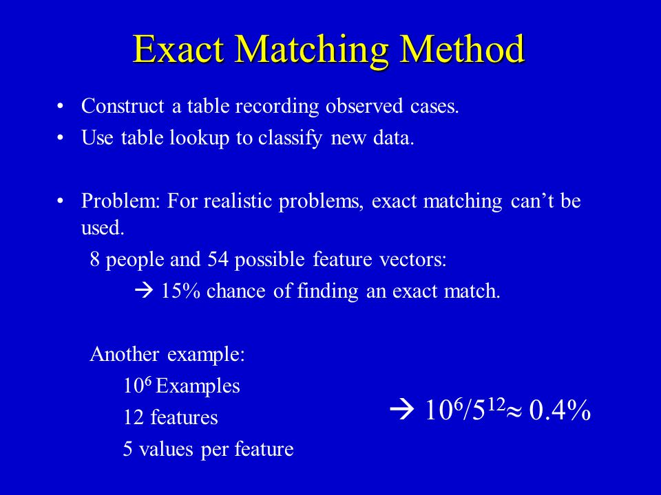 Exact Matching Method Construct a table recording observed cases. Use table lookup to classify new data. Problem: For realistic problems, exact matchi