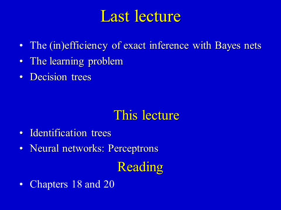 Last lecture (in)efficiency of exact inference with Bayes netsThe (in)efficiency of exact inference with Bayes nets The learning problemThe learning p